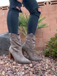 MI.IM- Leather wrapped heel suede crinkle booties