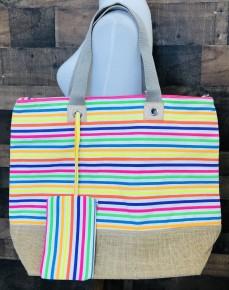 Stripe multi color tote bag