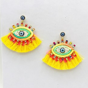 Bright Sofia Seed Bead and Yellow Fringe Evil Eye Post Earring