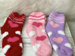 Cozy pink red and purple 3-pack heart socks