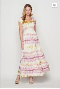 Flamingo Urban- Tie dye short sleeve maxi shirring dress