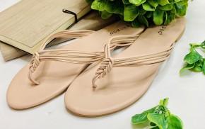 Easy slip on low heel thong sandal