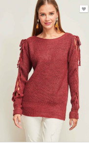 solid scoop-neck top featuring self-tie lace up detail sleeves