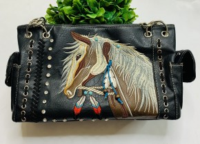 Black bling purse with embroidered horse and dangle (Concealed Carry)