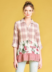 Mauve plaid half button down collared shirt with long sleeves and floral, scalloped hem contrast