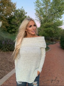 ILLA ILLA- Long sleeve off shoulder sweater top (100% acrylic)