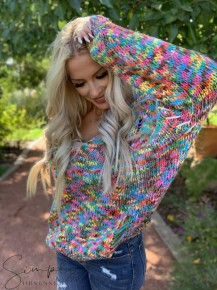 POL- Long sleeve multi color sweater with distressed detail