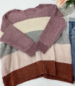 Oddi - Color block oversized v neck chenille sweater