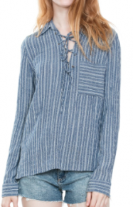 Denim stripe long sleeve top with lace tie and pocket