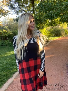 Honeyme- Long sleeve plaid color block dress with pockets