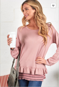 P.s Kate - French terry long sleeve top with pleated bottom ruffle