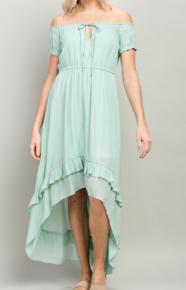 Off shoulder high low mid dress