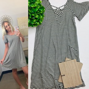 Striped ribbed a-line dress with slight ruffled cold shoulder and criss-cross in the back