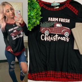 Southern Grace Apparel - Farm fresh christmas on long sleeve tee with buffalo plaid trim