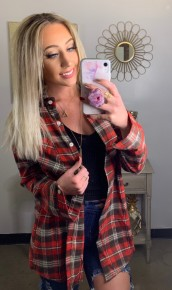 Adora- Button down plaid top