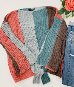 Davi & Dani- Long sleeve color block striped sweater with front tie