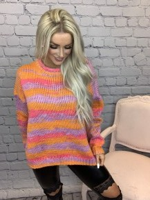 Oddi - Multi color thread, striped, round neck, long sleeve sweater