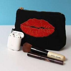 Embroidered Lips Pouch