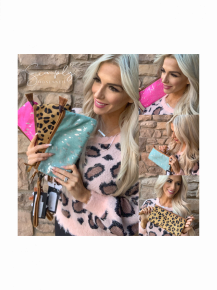American Darling- Hide leather clutch purse