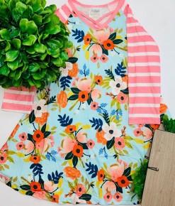 Honeydew - Blue floral stripe girls dress (kids)