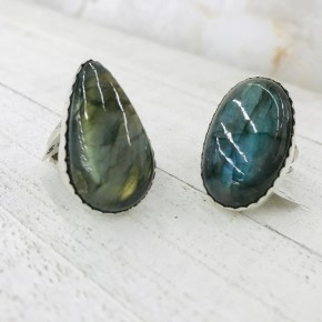 LARGE OVAL AND DROP LABRADORITE  WITH SCALLOPED EDGE