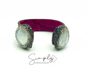 Pink Snake Skin Cuff with MOP Stones and Black/Silver Pave Crystals