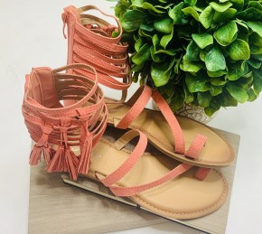 Coral strappy sandals with fringe tassel