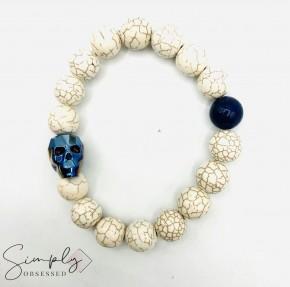 Swarovski Skull with Magnesite and Lapis Lazuli Stones Beaded Bracelet (12mm)