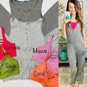 Stripe rayon spandex jumpsuit with buttons