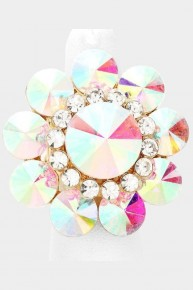 Large Flower Iridescent Stretch Rings