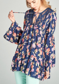Navy floral print crinkle rayon tunic with bell sleeves and sheer lace insets