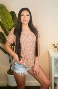 Hailey & Co - Animal printed top with rolled up sleeves and side slits