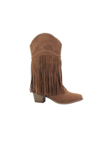 rust colored mid high heel boots w/ fringe detail