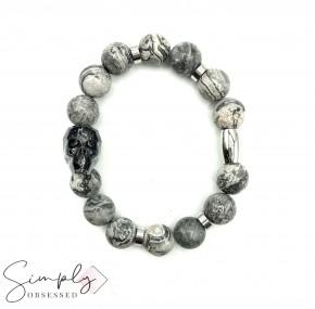 Swarovski Skull with Gray Jasper Stones Beaded Bracelet (12mm)