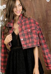 Main Strip- cropped plaid denim button up jacket