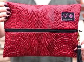 Makeup Junkie - Red crimson cobra makeup junkie bag  with black interior and tassel