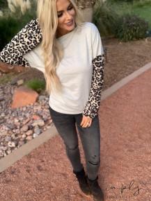 Heyson - Leopard printed bubble contrast sleeve top