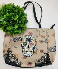 Tan/Grey Floral Skull Purse Tote (Concealed Carry)