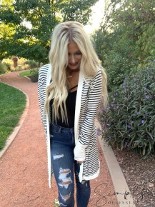 Magic fit- Open front striped midi cardigan with pockets and thumb holes