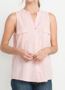 Sleeveless button down top
