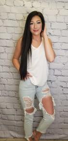 American Bazi - High waist distressed mom jeans