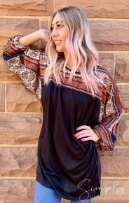 Heyson - Boho print contrast long sleeve tunic dress