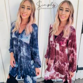 Honeyme- Long sleeve tie dye dress