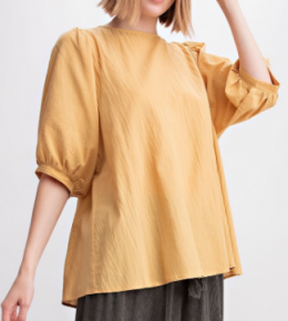 BUBBLE SLEEVES COTTON WOVEN BLOUSE