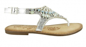 Silver leather upper, multi-color jeweled detail, rubber outsole.
