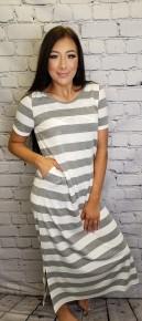 Short sleeve rugby stripe hoodie maxi knit dress