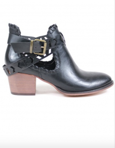 Black strap heel booties
