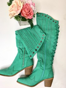 Lucky & Blessed- Solid tall boot with studs and a tie