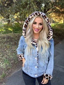 12pm by Mon AMI- Long sleeve denim jacket with leopard print fur lining