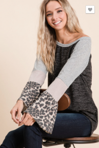 BiBi - Sweater knit top with contrast block sleeves with leopard detail on sleeves